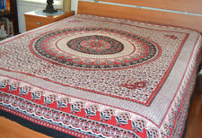 Cotton Red and Black Block Printed White Base Color Flat Bed Sheet from India