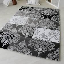 Moderner Kurzflor Teppich Designer Versace Muster Grau Schwarz Weiß Wohnzimmer