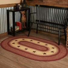 VHC Burgundy Red Star Eco-Friendly Jute Primitive Country Oval Braided Rug