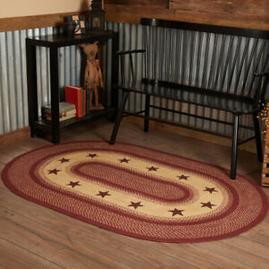 VHC Burgundy Red Star Eco-Friendly Jute Primitive Country Oval Braided Rug W/Pad