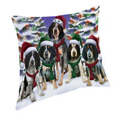 Bluetick Coonhound Dog Christmas scenic background Throw Pillow 14x14