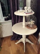 Vintage Two Tier Dumb Waiter Table ~ Wooden Circular Console / Occasional Table