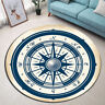 Retro Nautical Compass Round Carpet Area Rug Living Room Porch Floor Beach Mat