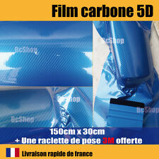 Film carbone 5d bleu covering brillant thermoformable + raclette de pose 3M pro