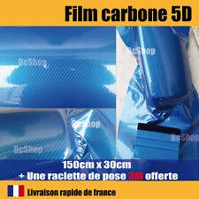 Film Carbone 5d Bleu covering Brillant thermoformable Raclette de pose 3m Pro