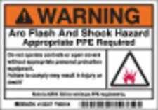 BRADY 102307 Arc Flash Protection Label,PK100