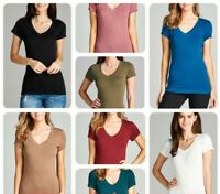 Women Basic Short Sleeve Shirts V-Neck Plain Solid T-Shirt Top (S-3XL)