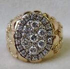 MENS VINTAGE HUGE 1.35 CT. DIAMOND CLUSTER 14K YELLOW GOLD NUGGET RING~GORGEOUS!