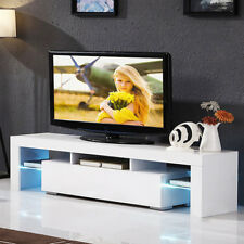 Modern 130cm TV LED Cabinet White High Gloss Door Tv Stand Unit +FREE LED Lights