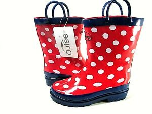 Outee Girl's Red Polka Dot Waterproof Boots,Toddler Size 10,Medium