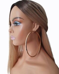 HUGE 12cm GOLD tone BIG plain CHUNKY hoop earrings LARGE - MASSIVE HOOPS! ***