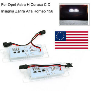 2Pcs Fit For Opel Astra H Corasa C D Insignia Car LED License Plate Lights Lamps