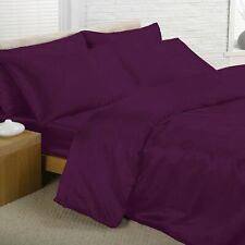 PURPLE Satin Bedding Sets KING Duvet Cover + Fitted Sheet + Pillowcases NEW