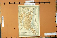 Original Old Antique Print Map 1907 Street Plan Rochefort France River Charente