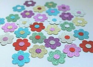 25 x SPARKLY FLOWERS CARD MAKING CRAFT EMBELLISHMENTS SCRAPBOOK