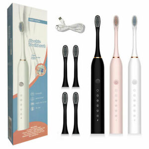 6 Modes USB Electric Toothbrush Waterproof 4*Replacement Brushheads Rechargeable