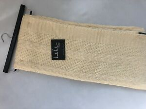 New Nicole Miller Home Beautiful Cable Knit Cream and Gold Throw Blanket