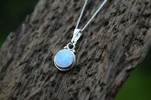 925 STERLING SILVER BLUE OPAL GEMSTONE ROUND DROPLET NECKLACE TRIPLE COLOUR