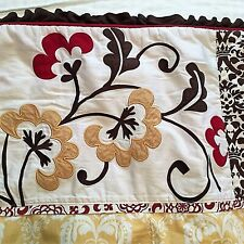 COCALO COUTURE Crib Quilt / Comforter DELILAH Washable Red Yellow Brown Aqua