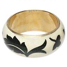 Boho Hand-painted Floral Brass Bangle Bracelet