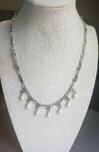 """Brighton VIVALDI Necklace Dangle Pearls Silver Tone Scroll Hearts 16-18"""" Retired"""