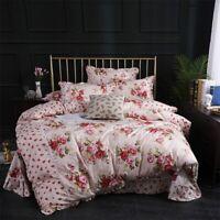 Flowers Duvet Cover Set Cotton 4Pcs Bedding Set Comforter Cover Bed Sheet