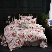 Flowers Duvet Cover Set Cotton 4Pcs Bedding Set Comforter Cover Bed Sheet