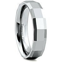 Men's 6mm Wide Tungsten Carbide Band Comfort Fit Ring Geometric Design - TCR024