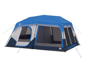 Ozark Trail 10-Person Instant Cabin Tent with LED Lighted Poles - Blue