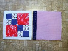 AF0675 SET 2 PATCHWORK TABLE MATS Candle square Baseball red white blue picnic