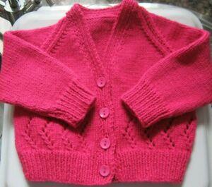 "Hand Knitted Baby Cardi - CLOVER, 18"" chest, V Neck  **NEW**"
