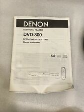 Denon DVD-800 DVD Player Owners Manual INSTRUCTIONS ORIGINAL!