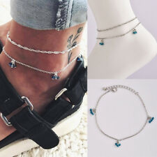 2pcs Crystal Barefoot Sandal Beach Anklet Foot Chain Jewelry Ankle Bracelet