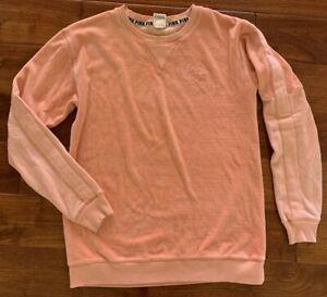 💚 PINK Victoria Secret Velour Crew Neck Sweatshirt Peach Size XS embossed logo