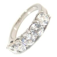 Simulated Diamond Ring 5 Stones 2.5 carats Hypoallergenic Surgical Steel