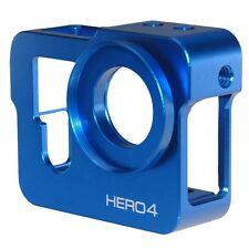 Blue CNC Protective Case Skeleton Frame Housing+37MM UV Lens&Cap f GoPro Hero 4