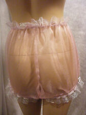 SISSY ADULT BABY PINK SHEER ORGANZA LACE DIAPER COVER PANTIES FANCYDRESS COSPLAY