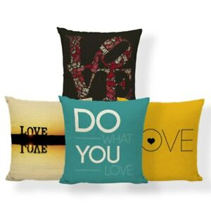 Happy Simple Pillow Text Geometry Art Pillow Polyester Decoration Cushion Cover