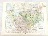 1889 Antique Map of Cheshire Altrincham Crewe Knutsford 19th Century Original