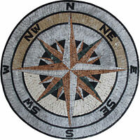 Nautical Compass Floor Wall Tabletop Marble Mosaic