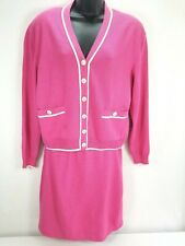 St. John Collection By Marie Gray Zip Cardigan Skirt Suit Hot Pink Sz 6 Women's