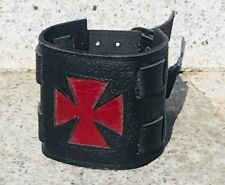 Iron Cross leather wrist cuff wristband Protector Schcwartz Biker metal Punk