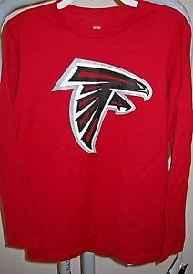ATLANTA FALCONS KIDS YOUTH SMALL SIZE 8 LONG-SLEEVE RED TEE-SHIRT WITH TEAM LOGO
