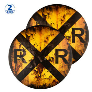 2-Pack Vintage Railroad Crossing Sign,Distressed 12 Inch Round Metal Wall Décor