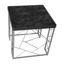 Furniture of America Stefano Modern Metal End Table in Black and Chrome