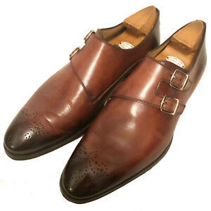 $1095 DI BIANCO Men's Brown Burnished Leather Double Monks - 9 1/2 U.S.