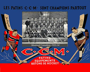 Montreal Canadiens 1933-34 CCM Skates Advertising Poster - 8x10 Color Photo