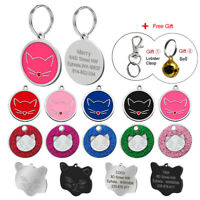 Personalized Cat Name Tag Pet ID Collar Tag Engraved Cute Cat Face Tag with Bell