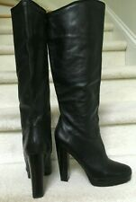Aldo Black Genuine Leather Tall Knee High Heel Platform Boots size 40, 10 US
