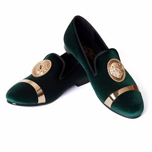 Harpelunde Green Golden Plate Slip On Shoes Wedding Animal Shoes Mens